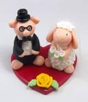 Pig and Sheep Wedding Cake Topper