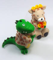 Crocodile and Giraffe Wedding Cake Topper by HeartshapedCreations