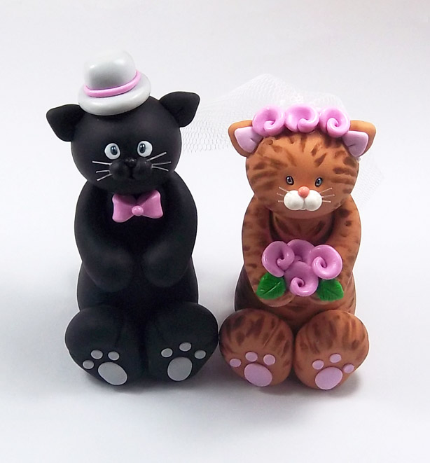 black cat wedding cake toppers black cat and tabby wedding cake topper by 11859