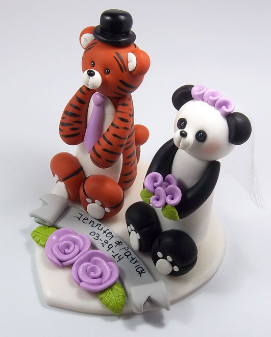 Tiger And Panda Bear Wedding Cake Topper By HeartshapedCreations