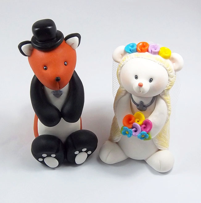 Mr And Mrs Fox Cake Topper