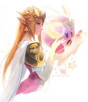 Princess Zelda and Kirby by rossdraws