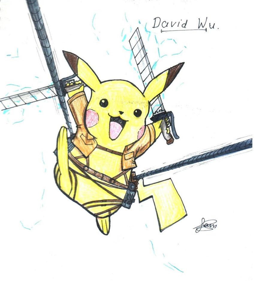 When Pikachu meets Attack on Titan by samzhengpro