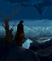 Young Jon Snow leaving back the Wall by Scaero
