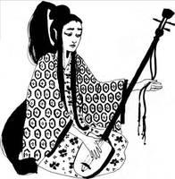 Shamisen player by Scaero