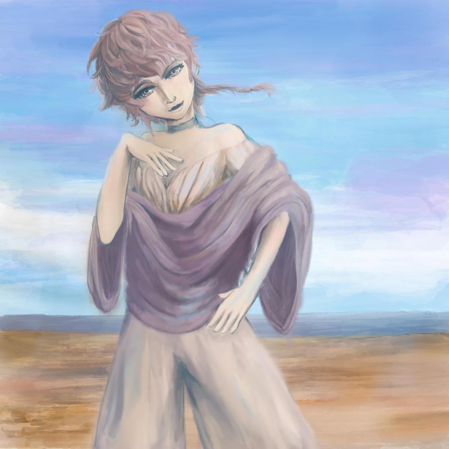 Painting of an OC by abunakunakatta(Twitter ID) by PiggyBlackWhite