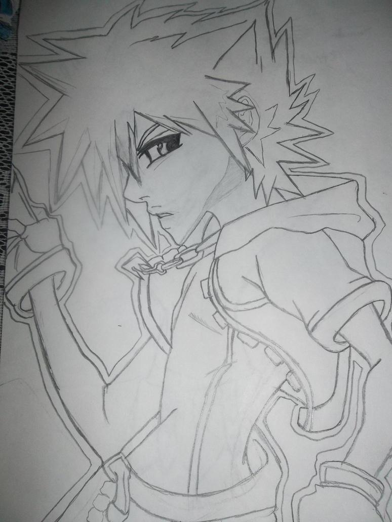 Kingdom Hearts Sora Line Art by Linked-Memories-21