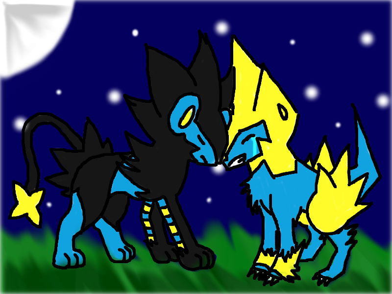 Luxray and Manectric by TheMisturyGirl45