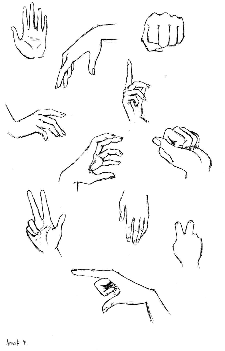 how to draw female anime hands