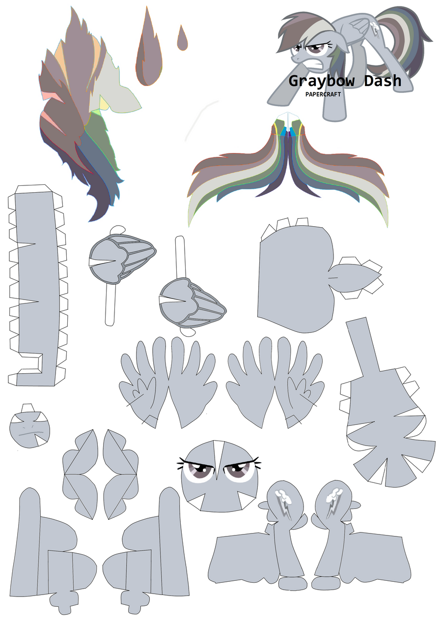 Graybow Dash Papercraft Pattern By Rainyhooves On Deviantart