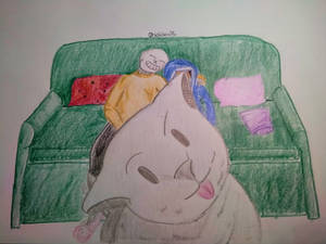 Devi and Sans in couch