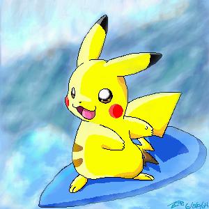 Surfing Pikachu by crayon-chewer
