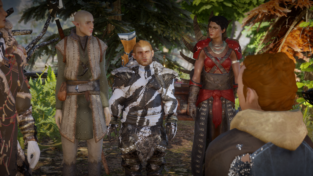 Solas, Varric, Cassandra and Scout Harding by Loukilouk04