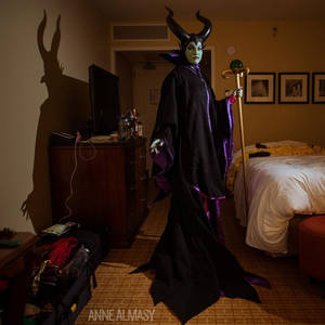 Maleficent in her hotel room