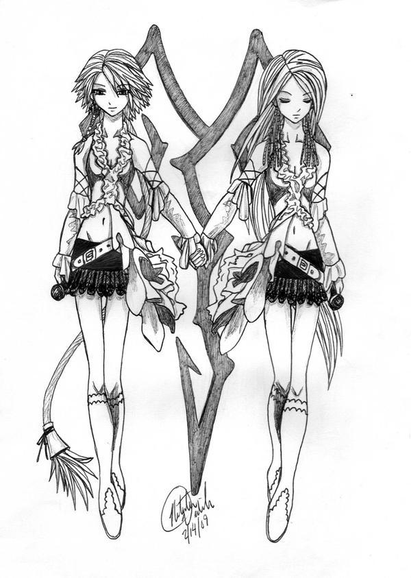 Yuna and Lenne by redphoenixfox1203 on DeviantArt