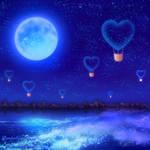 Night heart balloon flight-Blue- by bluegerbera-yuki