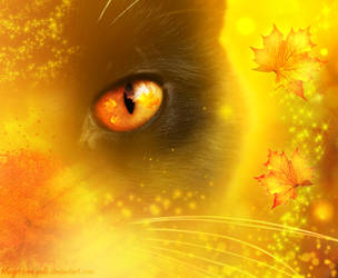 Autumn cat by bluegerbera-yuki