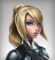 Zero Suit Samus Portrait - Black Var. by imDRUNKonTEA