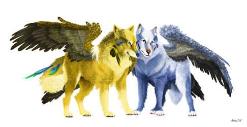budgie wolf couple