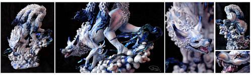 Ooak Beast of white and blue