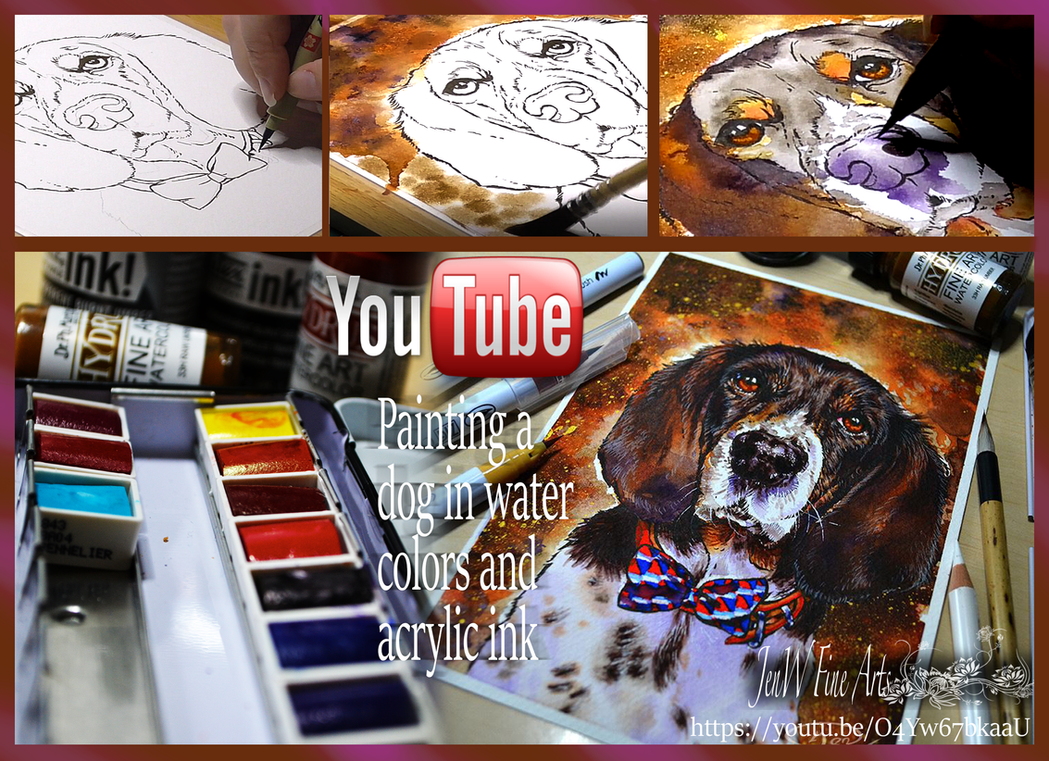Painting a dog in watercolors video tutorial by mangakasan