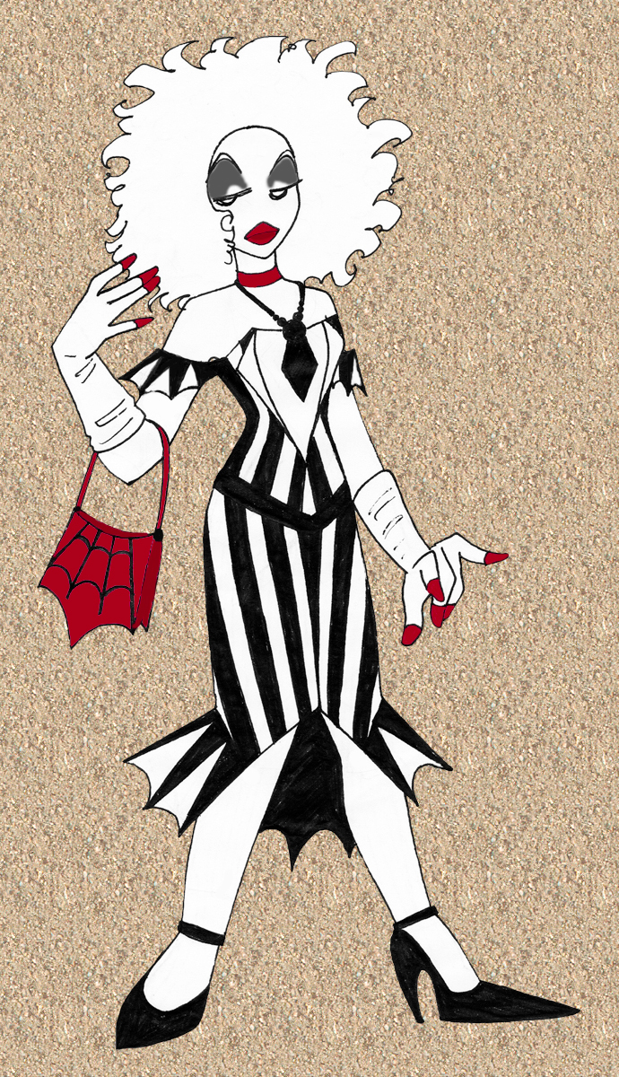Beetlejuice Cocktail Dress by Kisaki-Shattoriboshi