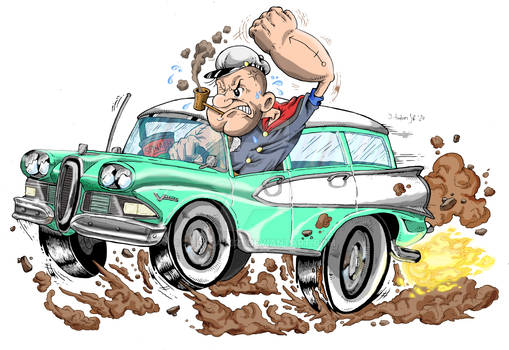 Popeye in a Hot Rod [Awesome Classic Car]