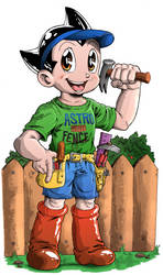 Astro Boy Fence Builder Commission in Color