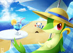 Snivy And Otter In Beach