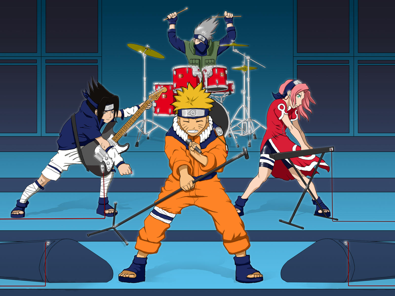 Team 7 Rockin out by Mo-ninja