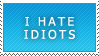 BLUE I HATE IDIOTS STAMP by propertyofkat