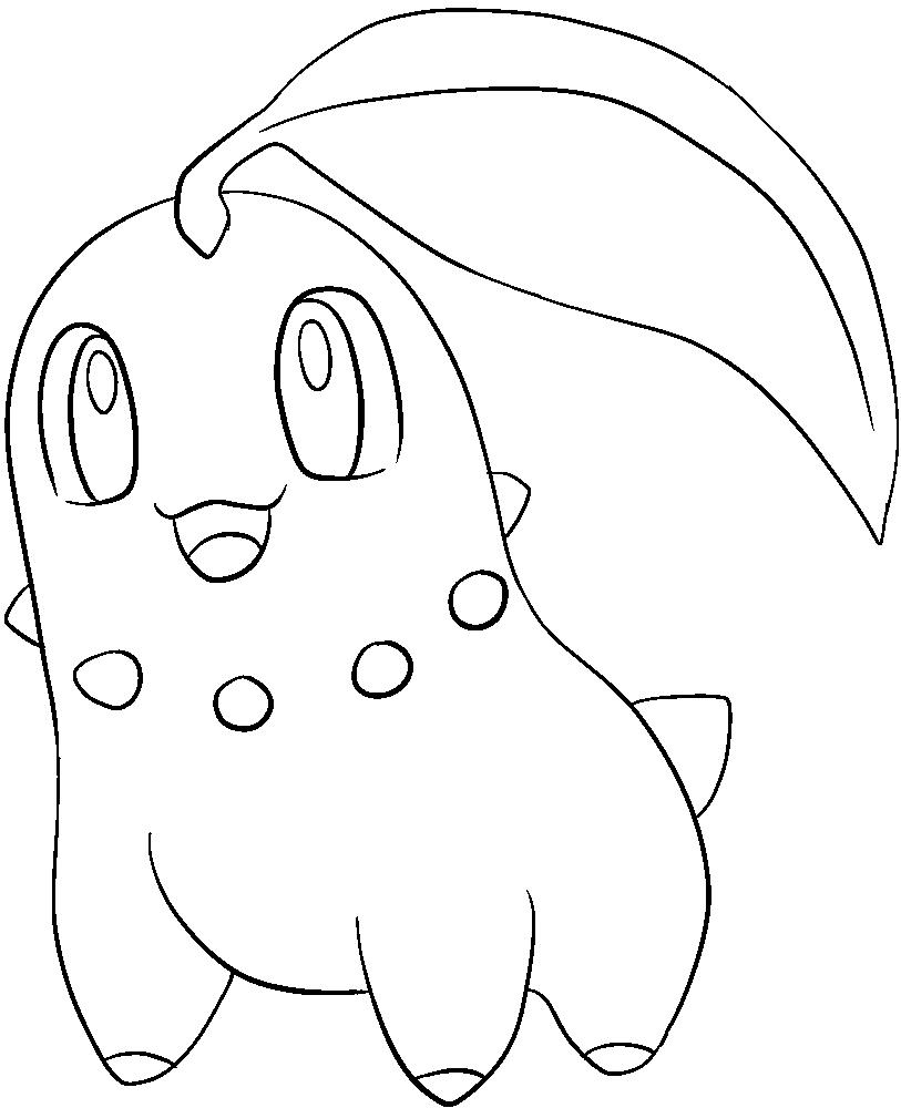 152 chikorita lineart by lillygerbil