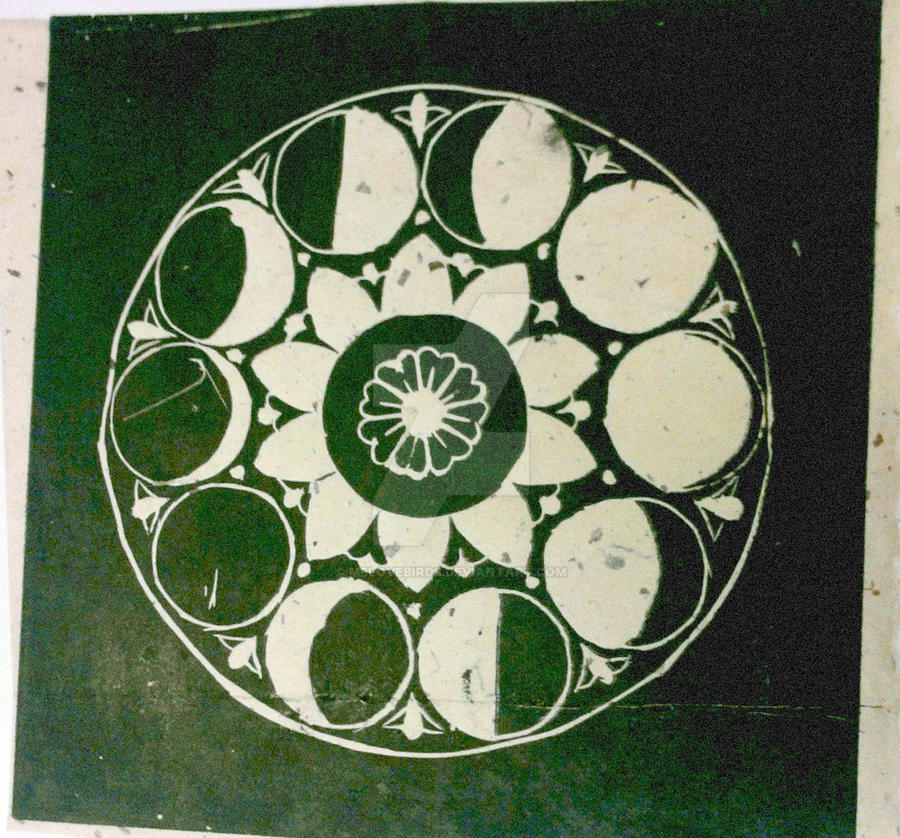 Moon Phases linoleum print by melovebirds