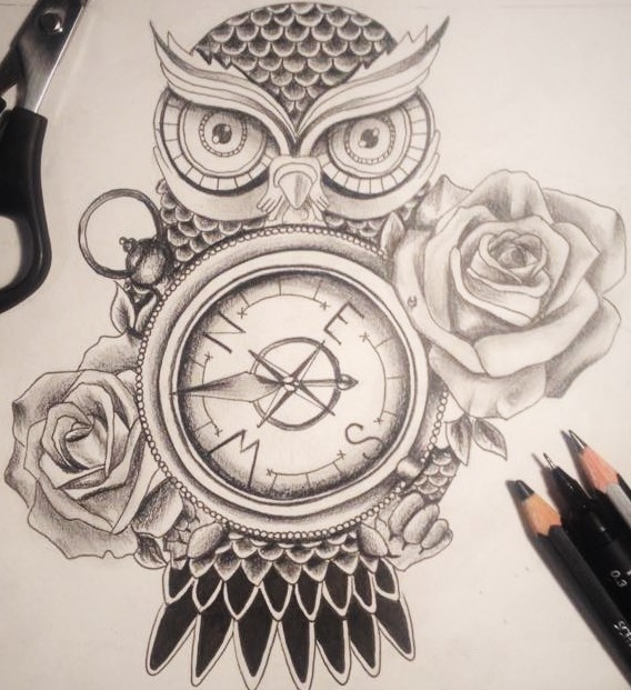 owl compass tattoo design by sophhammy on deviantart. Black Bedroom Furniture Sets. Home Design Ideas