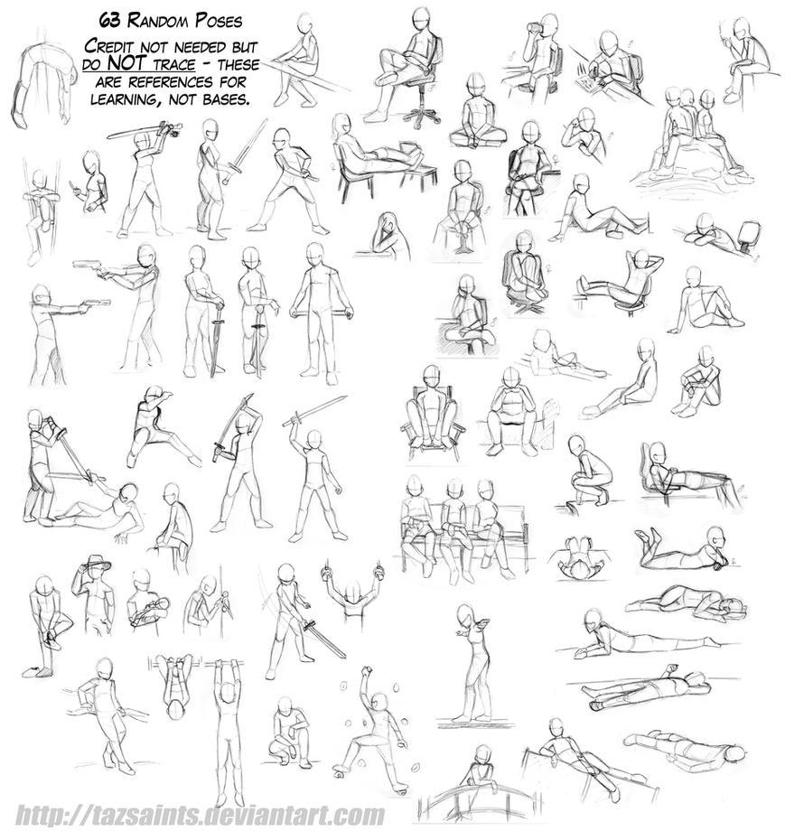 63 Random Poses by tazsaints on DeviantArt