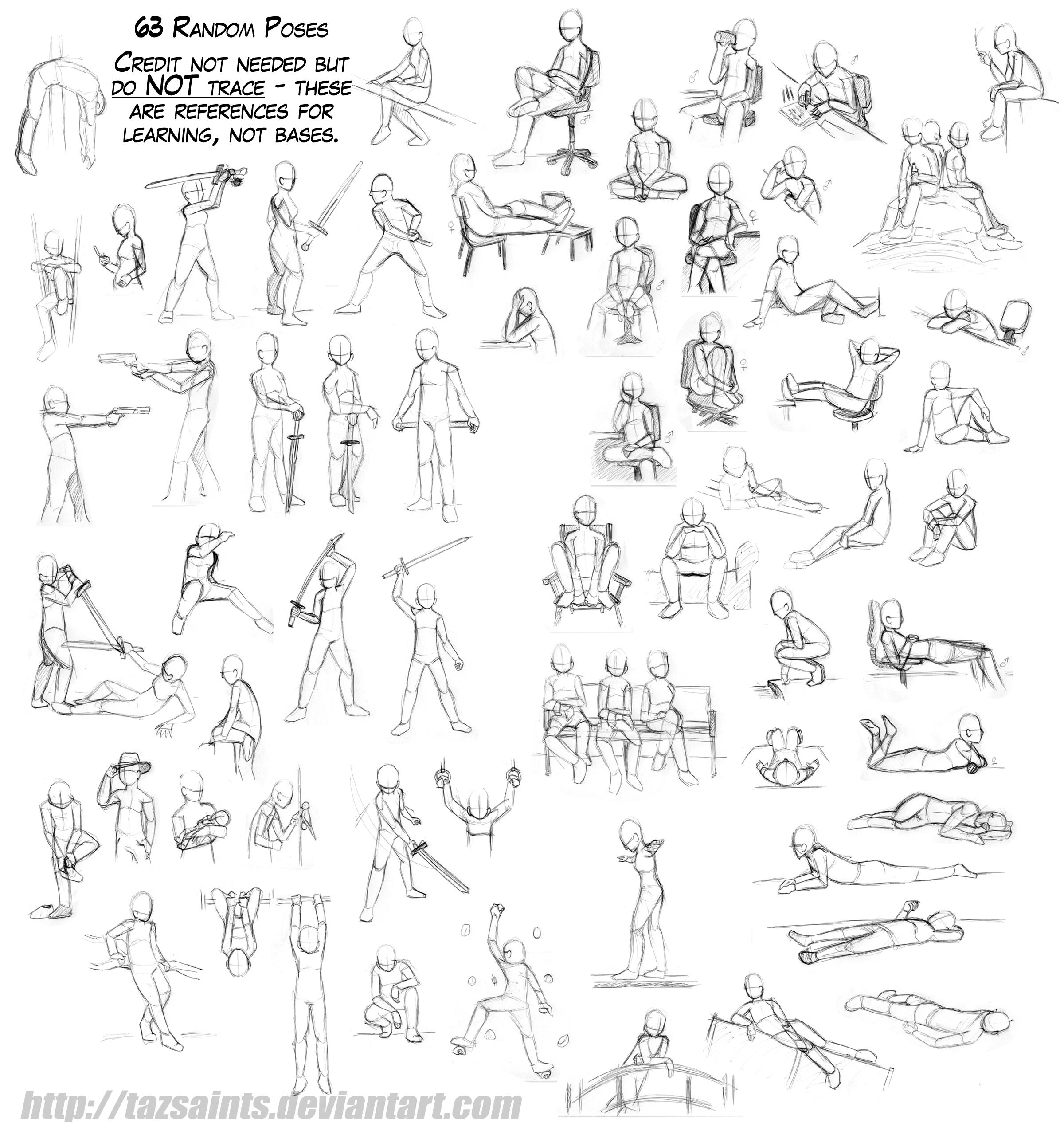 63 Random Poses by tazsaints