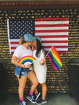 Girls, celebrating  Kissing