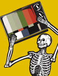 A Skeleton Holding a TV