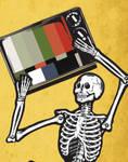 A Skeleton Holding a TV 2