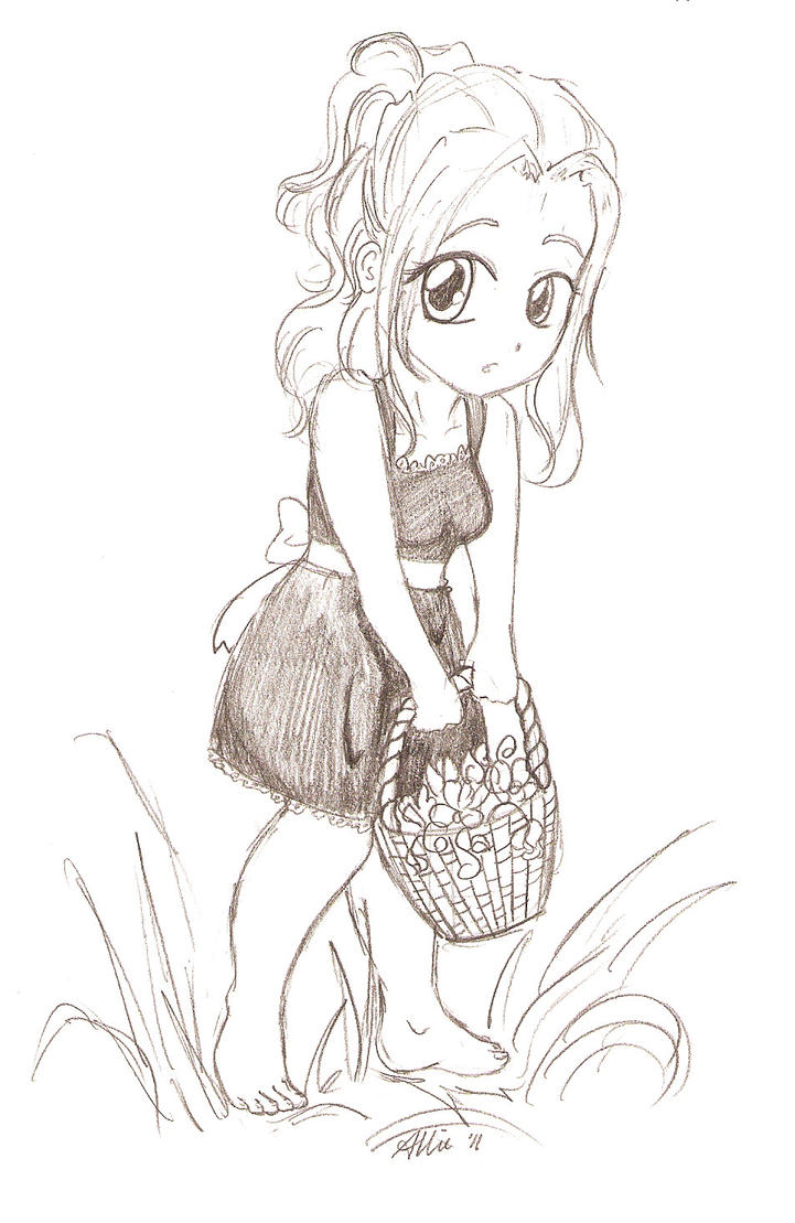 Flower Basket Line Drawing : Girl with a flower basket by limpinggnome on deviantart