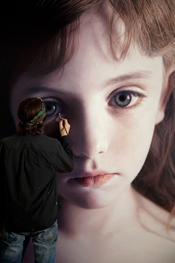 Head of a Child 18 (Mollie) by gottfriedhelnwein