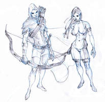 elves -ranger and druid scouts by Selkirk