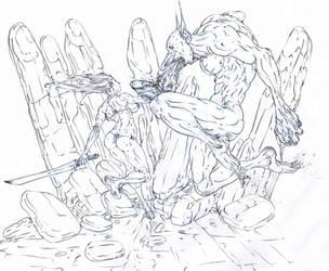 red sonja vs troll .. battle of troll finger cave! by Selkirk