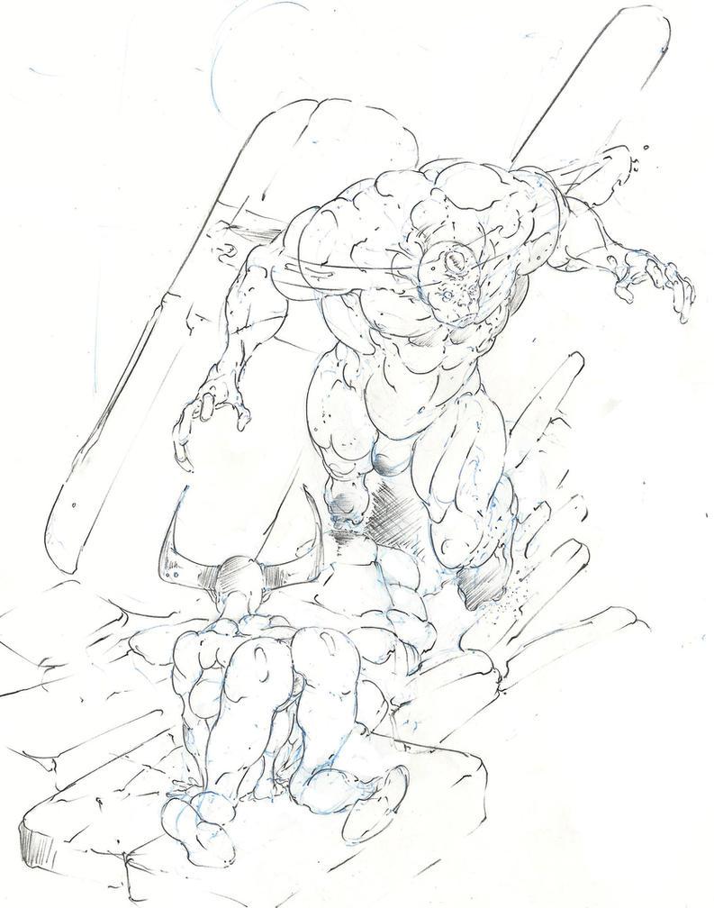 tiefling warlock summons a zombie lord ! :D by Selkirk