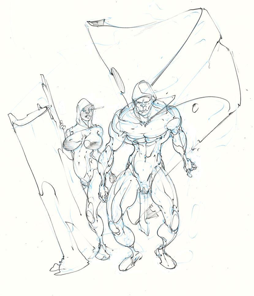 halfling thief ... half orc warlock ! :D by Selkirk