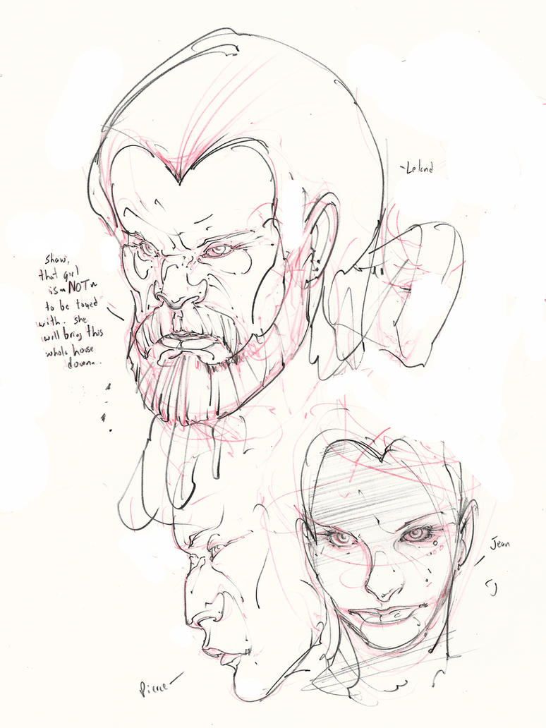 hellfire club faces ! leland , pierce and jean! :D by Selkirk