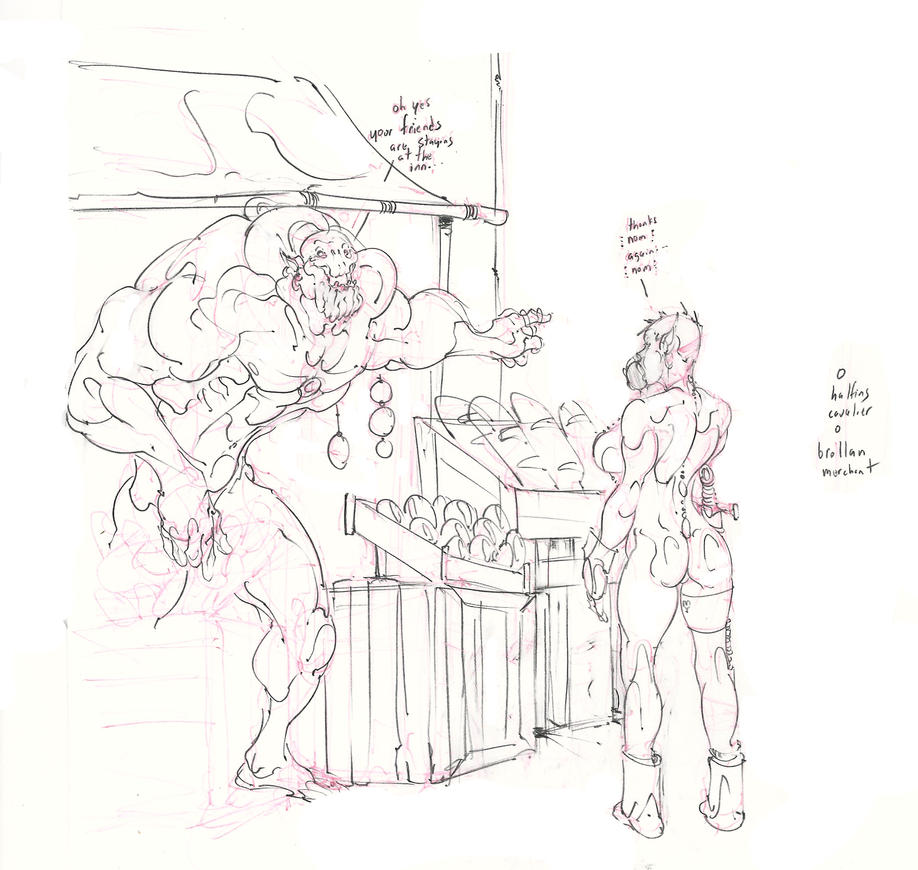 halfling cavalier and brollan merchant! :D by Selkirk