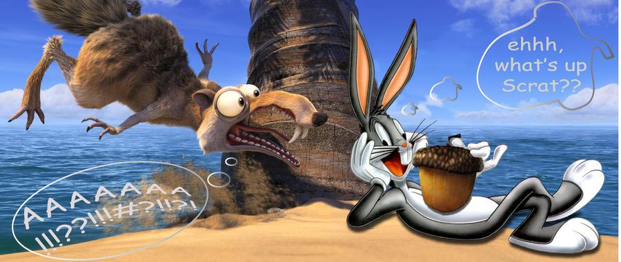 Scrat meets Bugs Bunny by Joanna-Vu