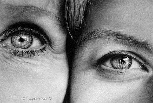 Mother and Daughter - pencil drawing