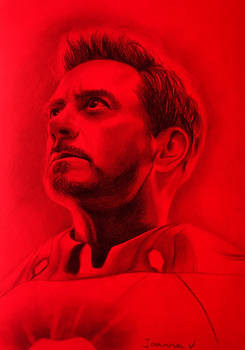Iron Man on red paper